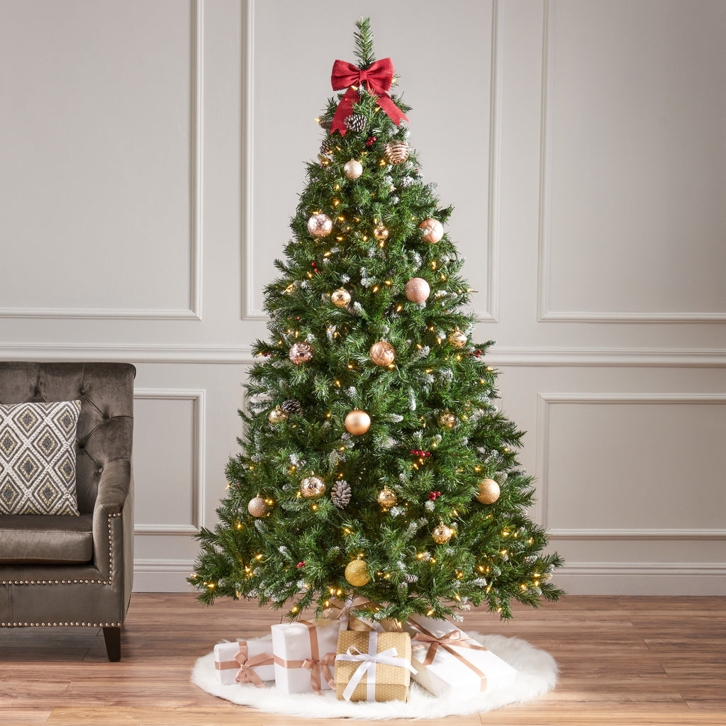 7-foot Mixed Spruce Pre-Lit Clear LED Hinged Artificial Christmas Tree with Frosted Branches
