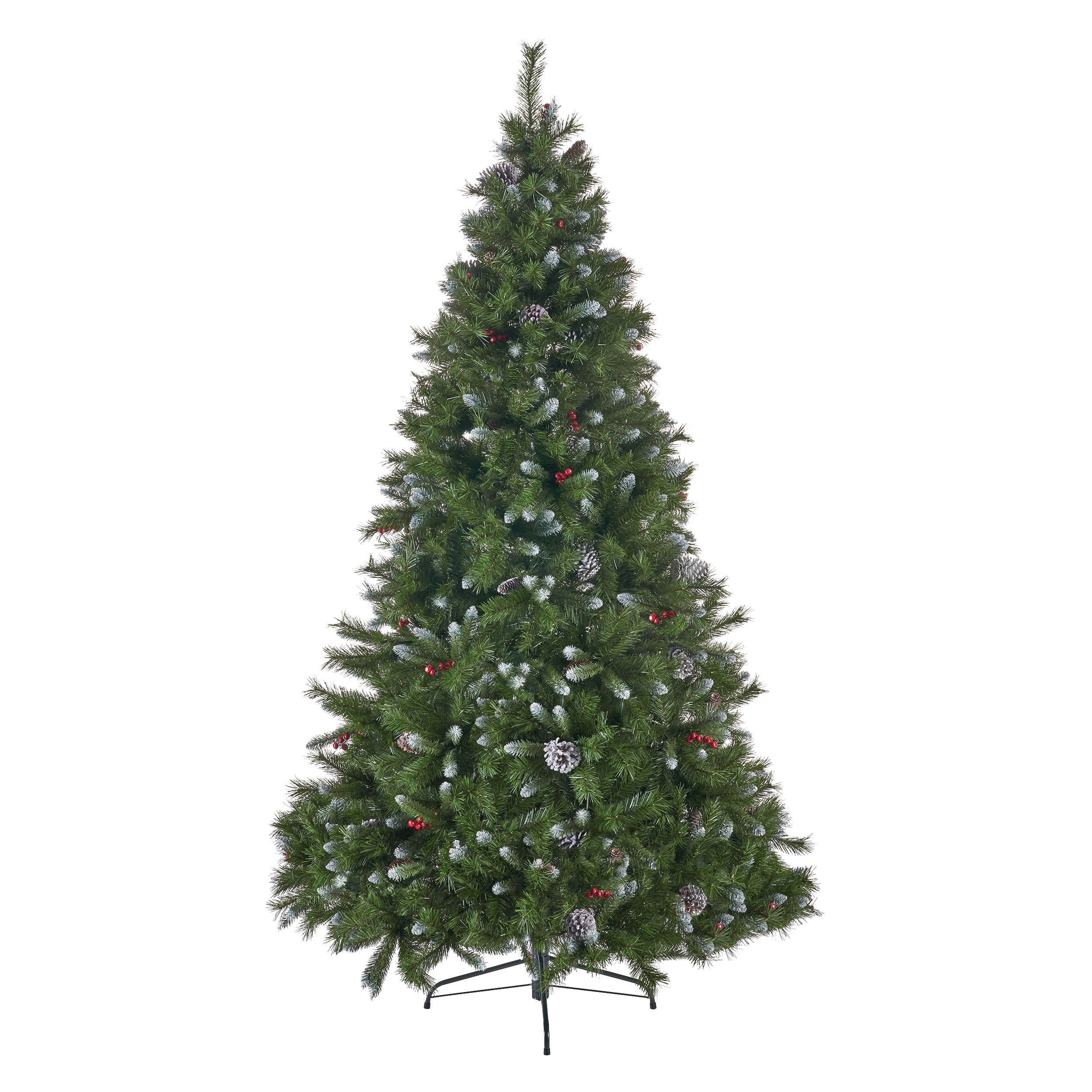 75 foot Mixed Spruce Hinged Artificial Christmas Tree with Frosted Branches Red Berries and Frosted Pinecones Lightless