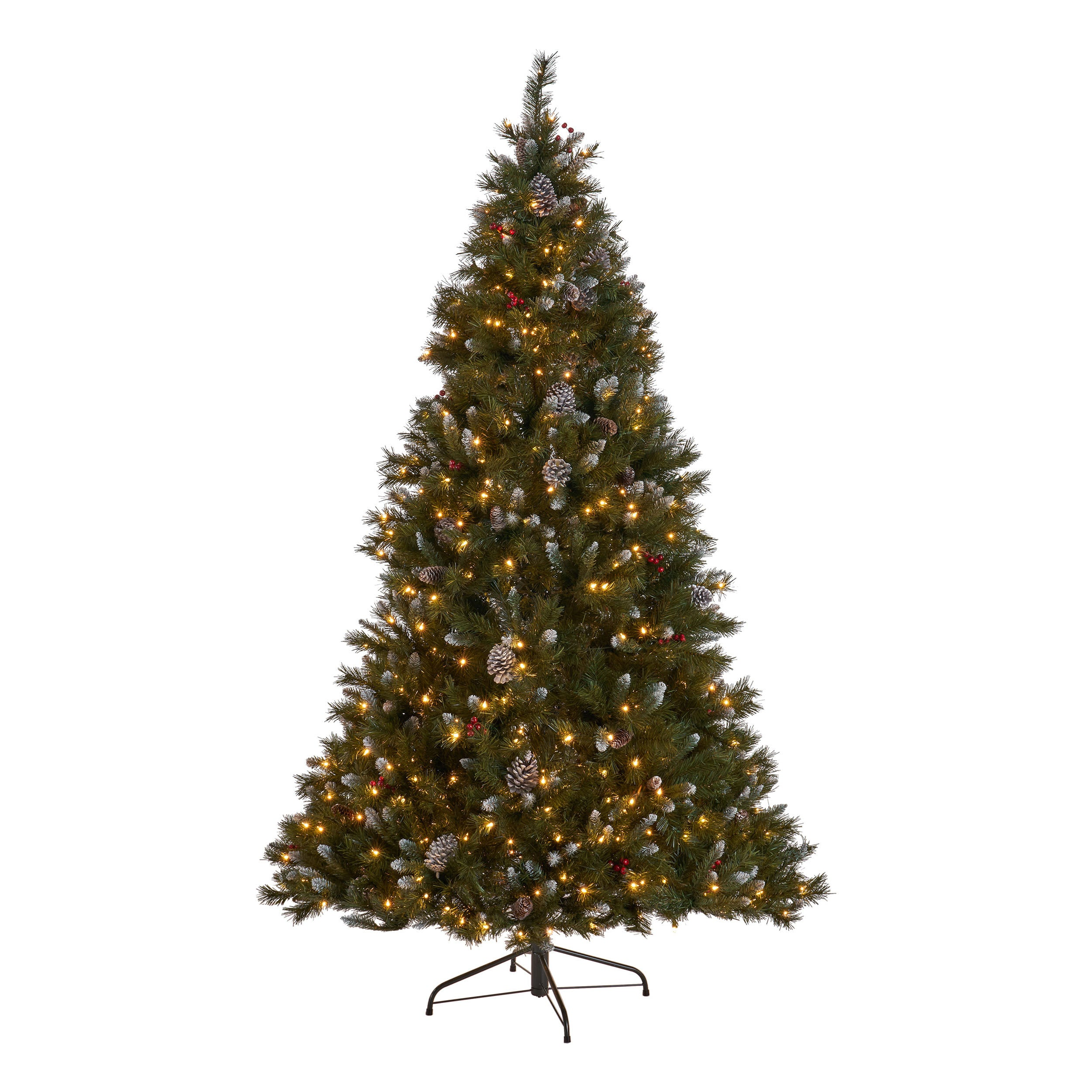 9 foot Mixed Spruce Hinged Artificial Christmas Tree with Frosted Branches Red Berries and Frosted Pinecones Multicolor Lights