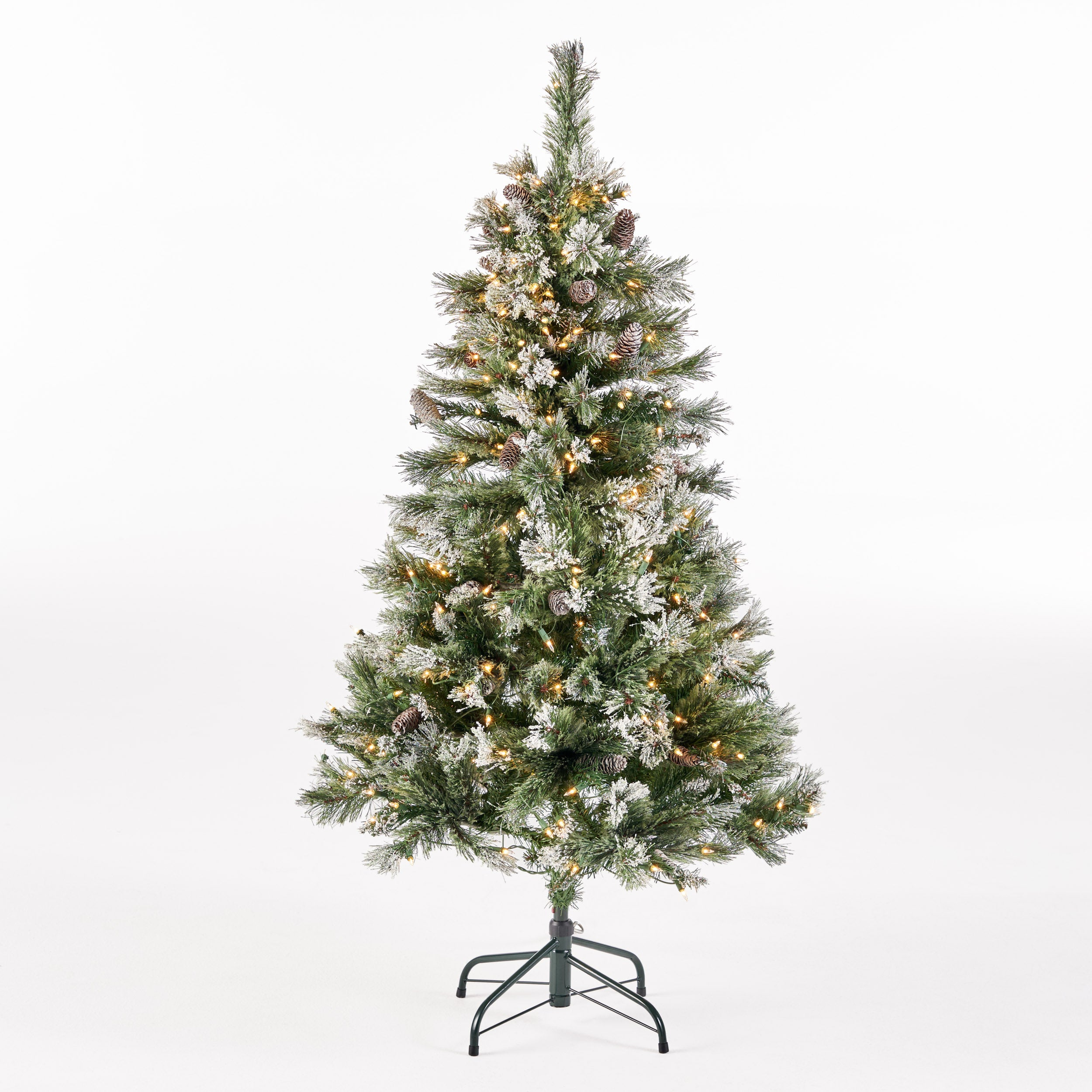 45 foot Cashmere Pine and Mixed Needles Hinged Artificial Christmas Tree with Snow and Glitter Branches and Frosted Pinecones Unlit