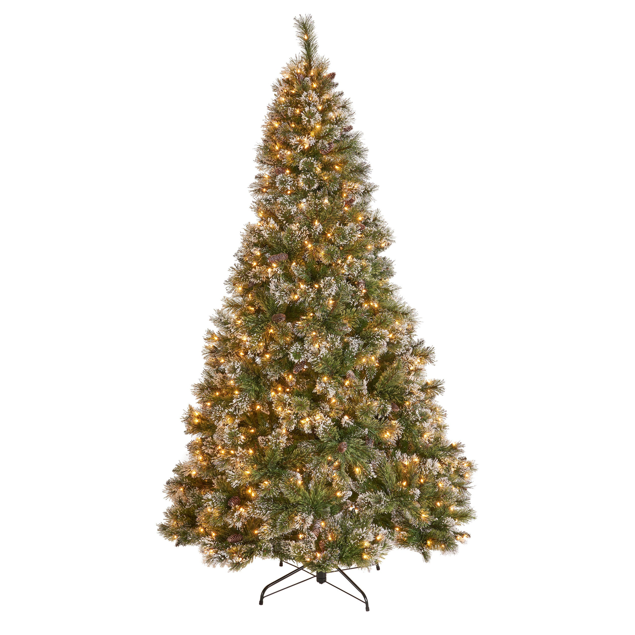9 foot Mixed Spruce Hinged Artificial Christmas Tree with Snow and Glitter Branches and Frosted Pinecones Clear Lights