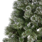 9-foot Mixed Spruce Pre-lit or Unlit Hinged Artificial Christmas Tree with Snow and Glitter Branches and Frosted Pinecones
