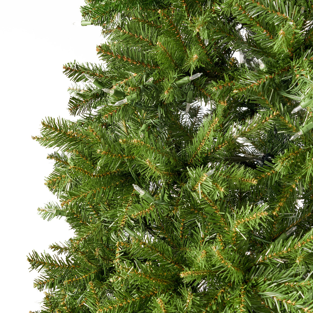 9-foot Fraser Fir Pre-Lit Clear LED Hinged Artificial Christmas Tree