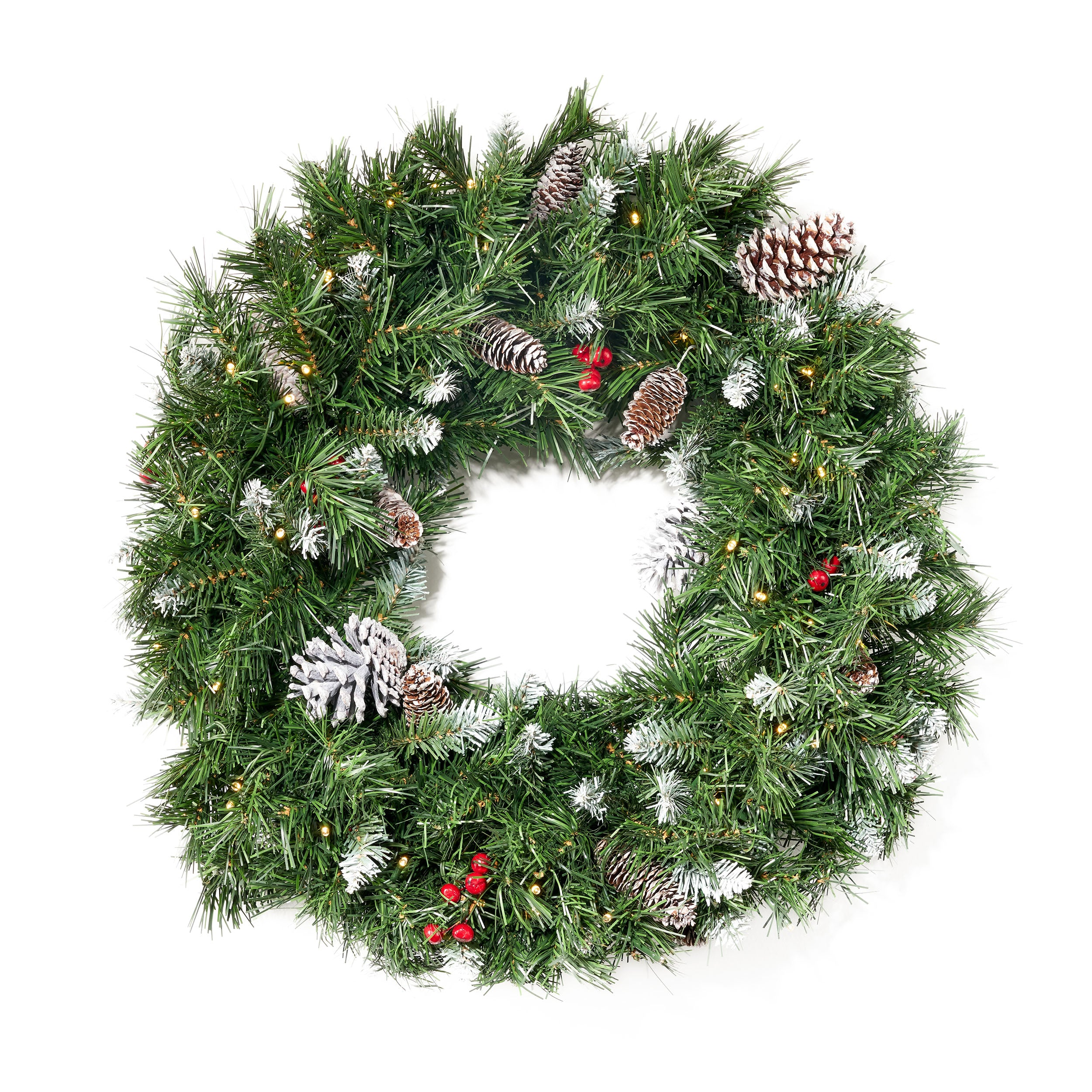 24 Mixed Spruce Pre Lit Warm White LED Artificial Christmas Wreath with Frosted Branches Red Berries and Pinecones