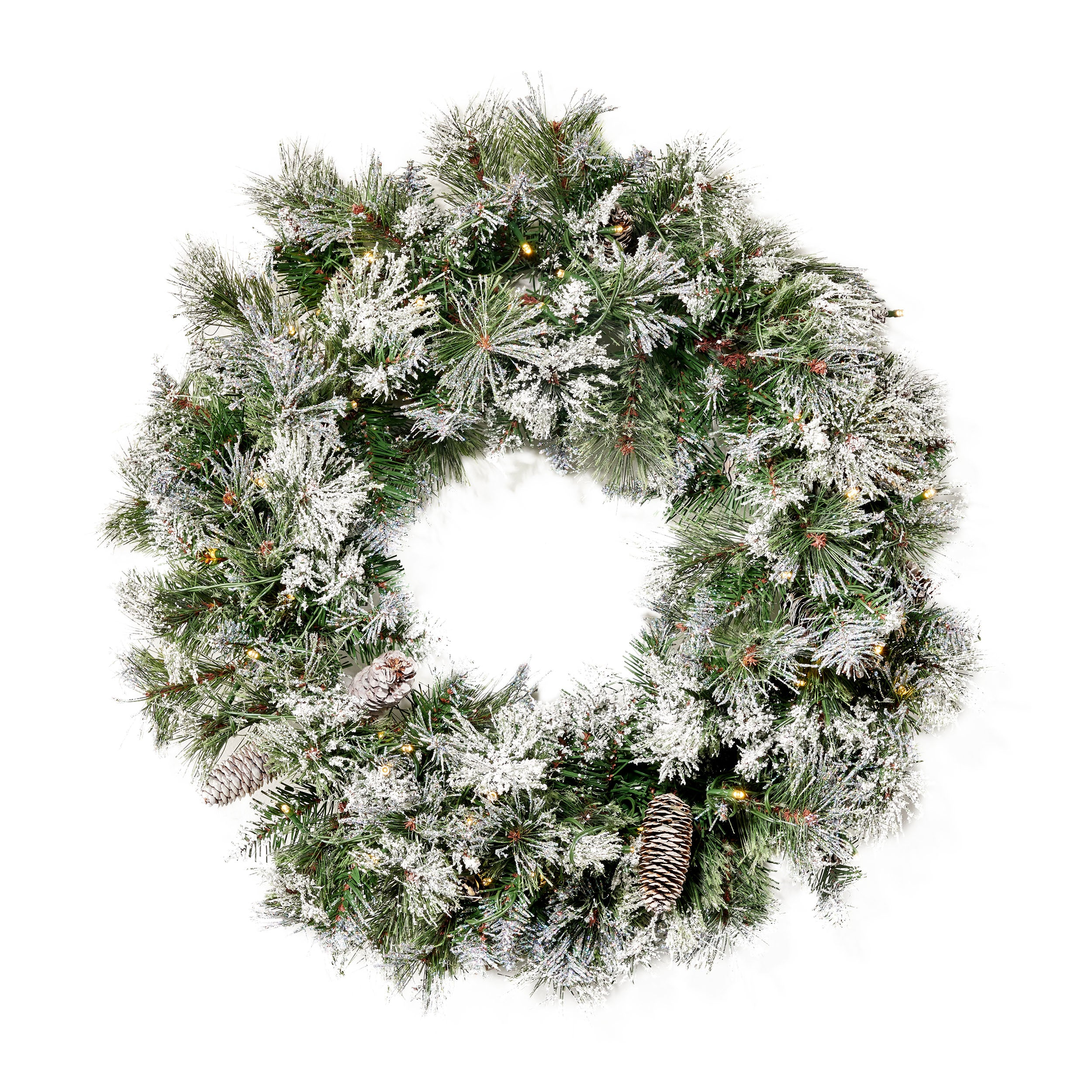 24 Cashmere Pine and Mixed Needles Warm White LED Artificial Christmas Wreath with Flocked Snow Glitter Branches and Pinecones