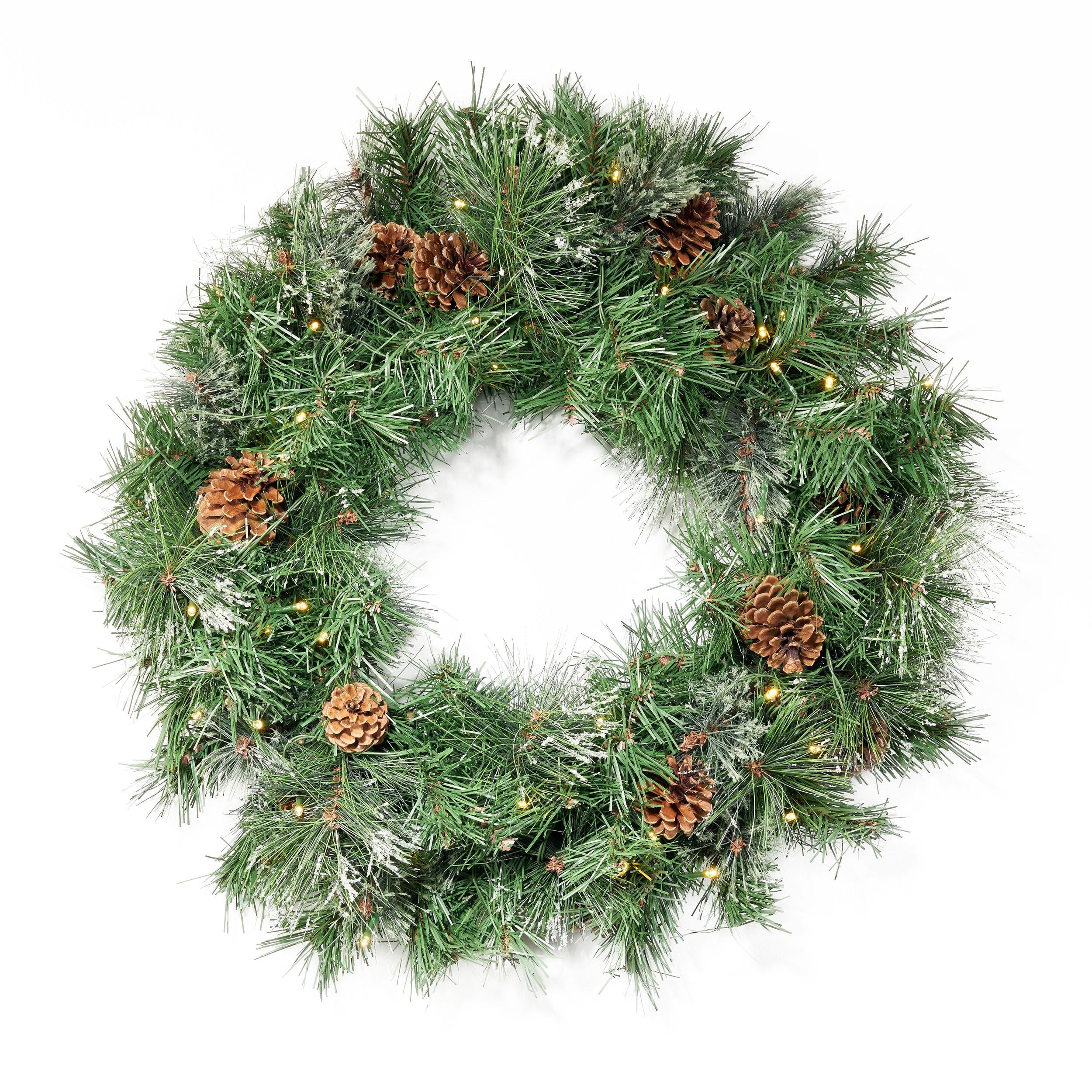24 Cashmere Pine and Mixed Needles Warm White LED Artificial Christmas Wreath with Snowy Branches and Pinecones