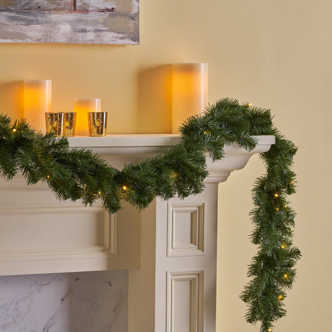 9-foot Noble Fir Pre-lit Clear LED Artificial Christmas Garland, Battery-Operated, Timer Included