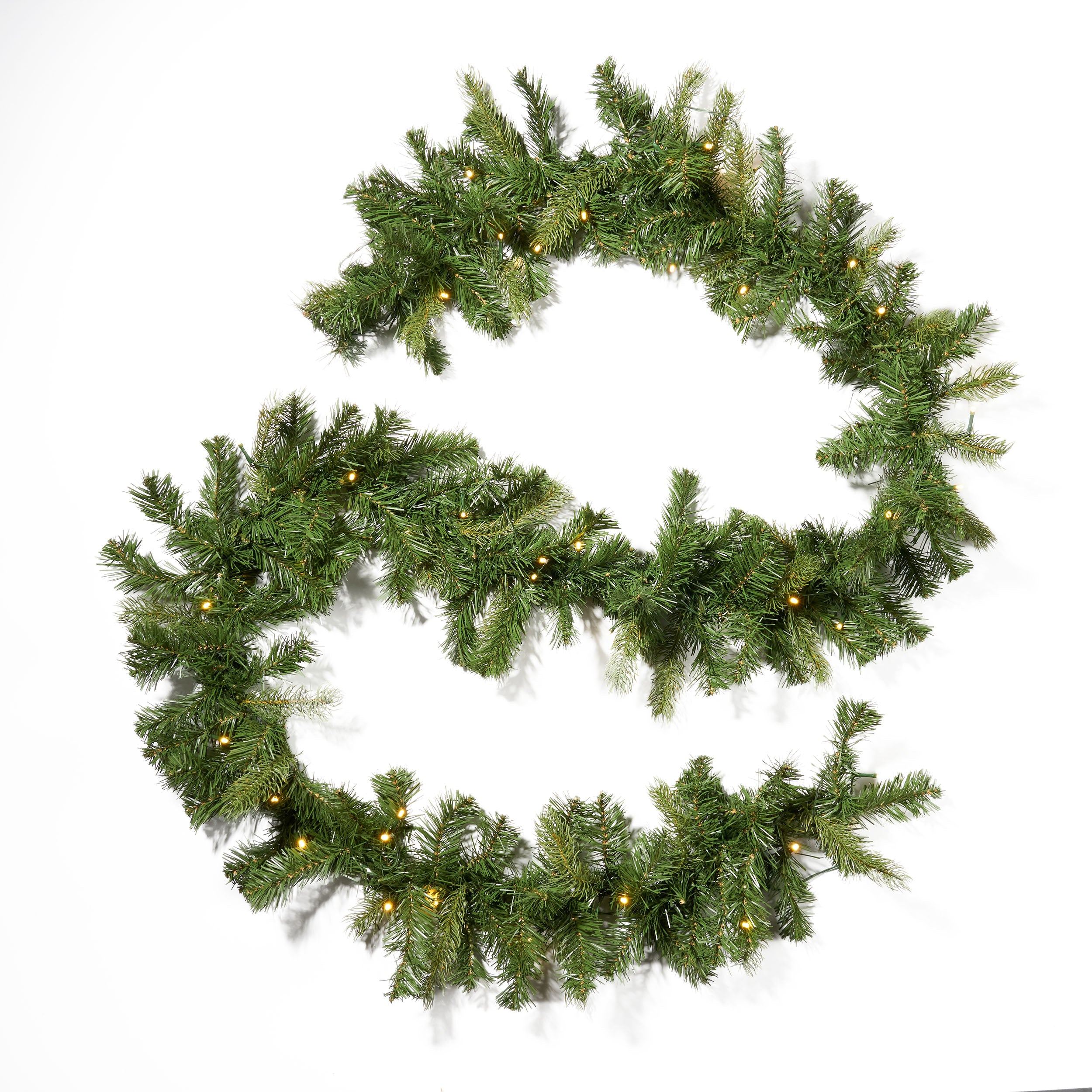 9 foot Mixed Spruce Pre Lit Warm White LED Artificial Christmas Garland