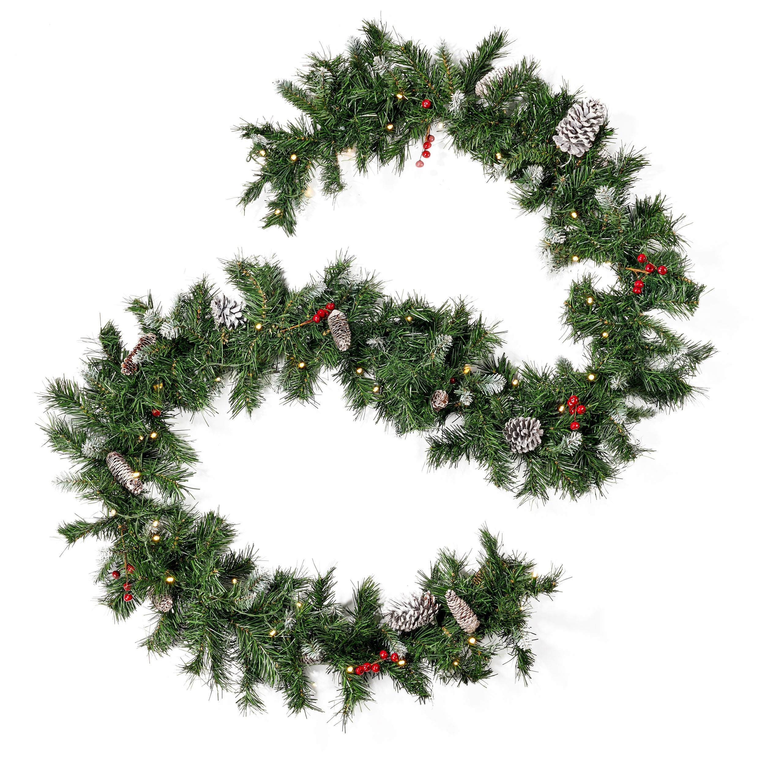 9 foot Mixed Spruce Pre Lit Warm White LED Artificial Christmas Garland with Frosted Branches Red Berries and Pinecones Default Title