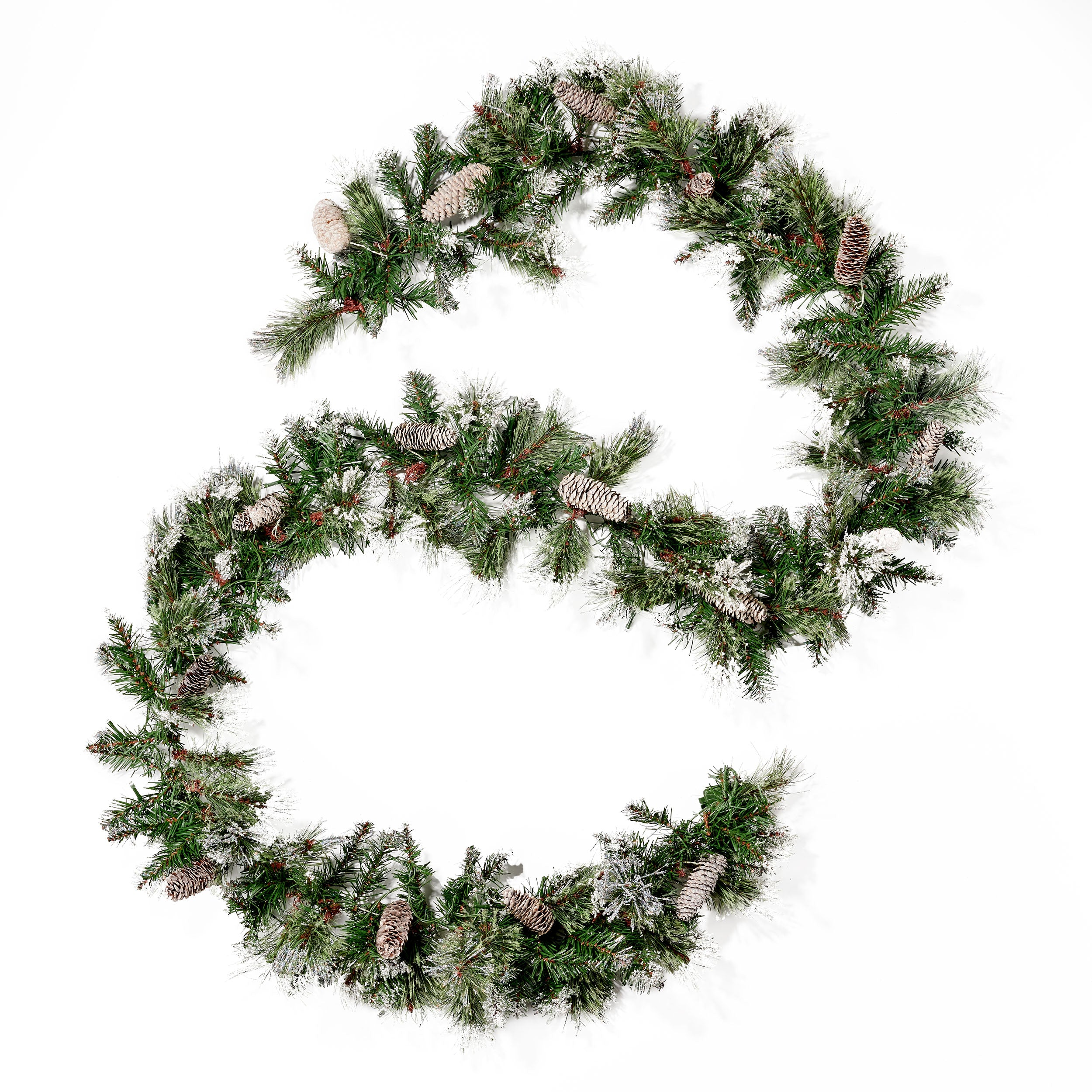 9 foot Cashmere Pine and Mixed Needle Pre Lit Warm White LED Artificial Christmas Garland with Snow and Glitter Branches and Frosted Pinecones Default Title