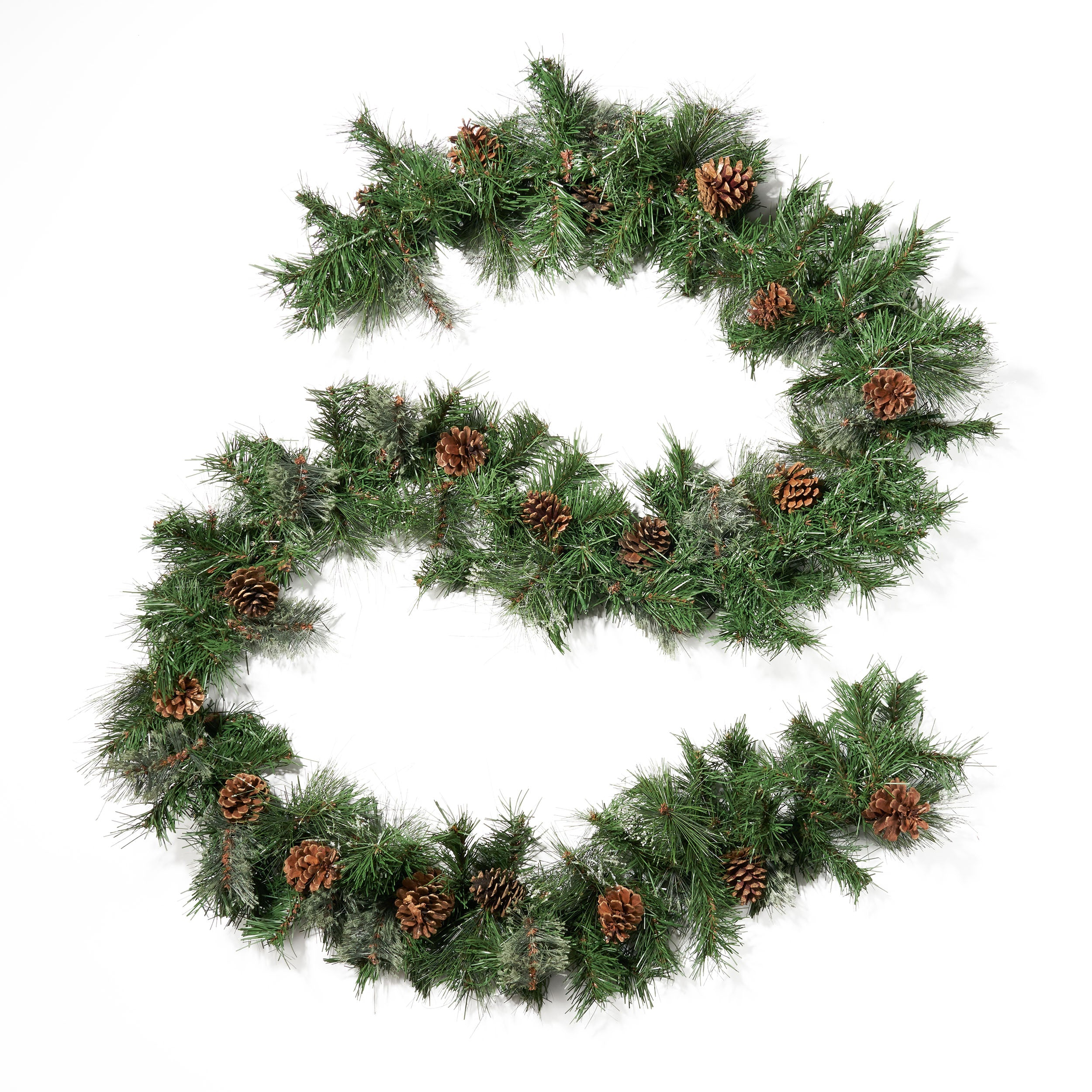 9 foot Mixed Spruce Pre Lit Warm White LED Artificial Christmas Garland with Snowy Branches and Pinecones