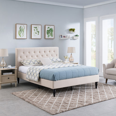 Agnes Fully-Upholstered Queen-Size Platform Bed Frame, Low-Profile, Contemporary