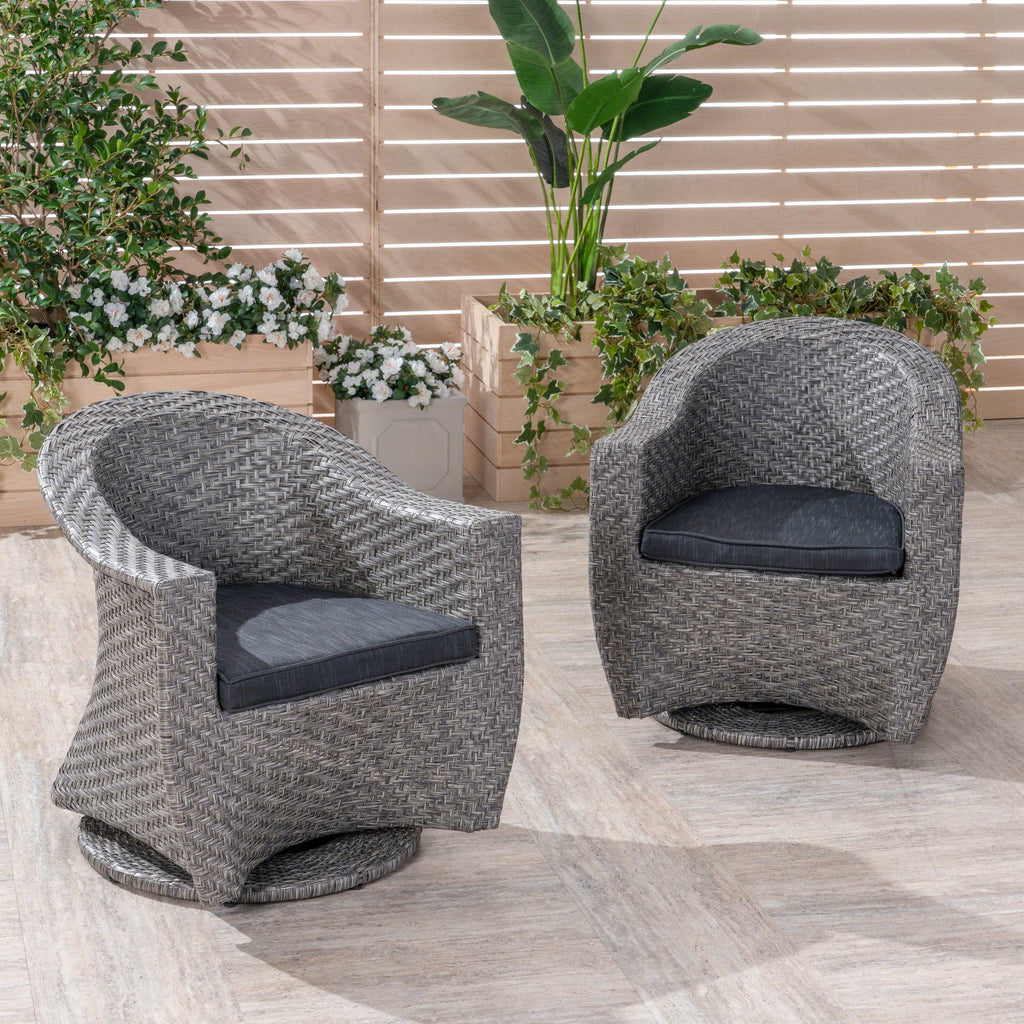 Swell Larchmont Patio Swivel Chairs Wicker With Outdoor Cushions Mixed Black And Dark Gray Cjindustries Chair Design For Home Cjindustriesco