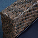 Florence Patio Swivel Chairs, Wicker with Outdoor Cushions, Multi-Brown and Navy Blue