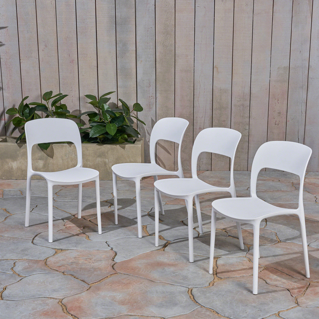 Dean Outdoor Plastic Chairs (Set of 2)