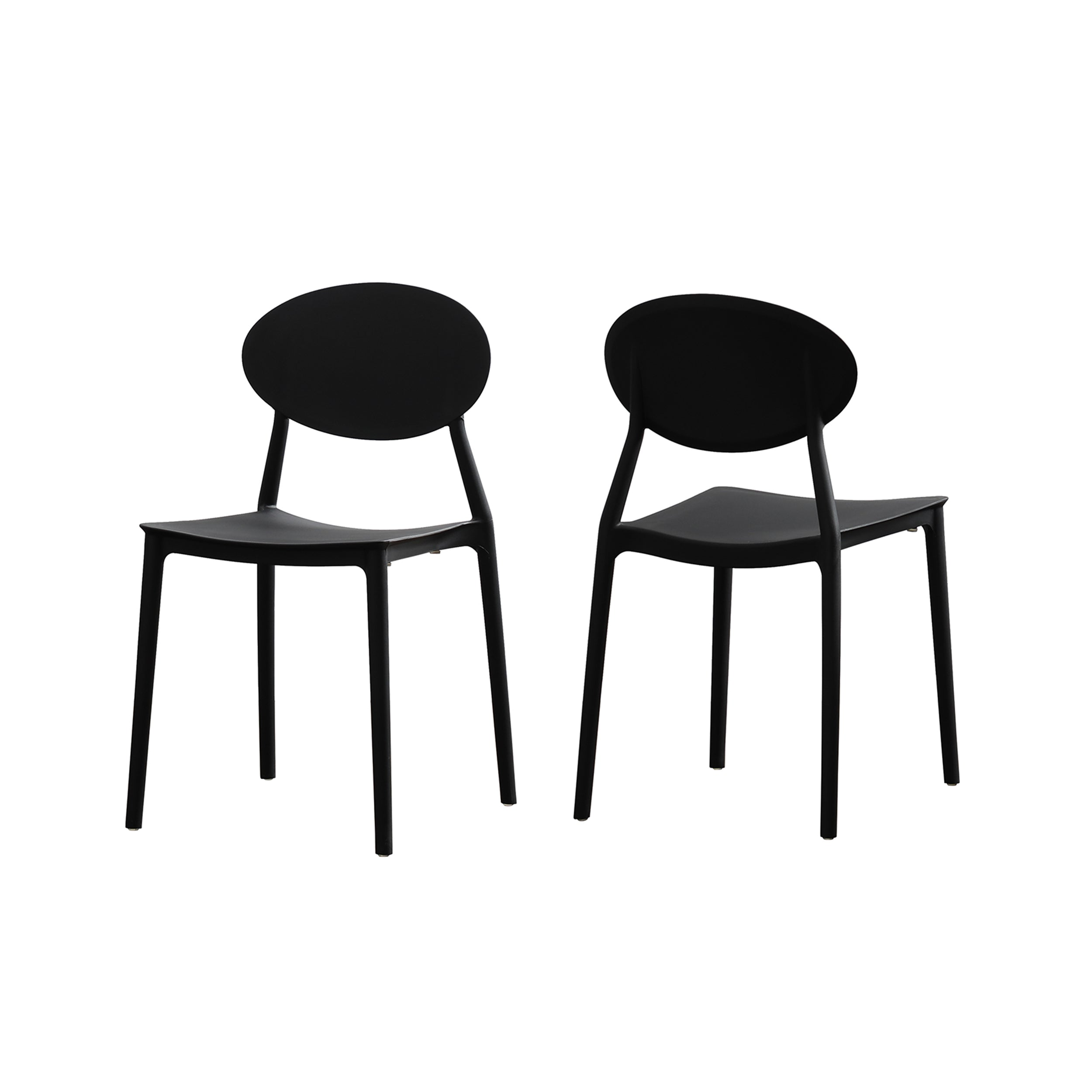 Ali Indoor Plastic Chair Set of 2 Black