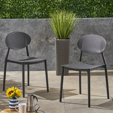 Brynn Outdoor Plastic Chairs (Set of 2)