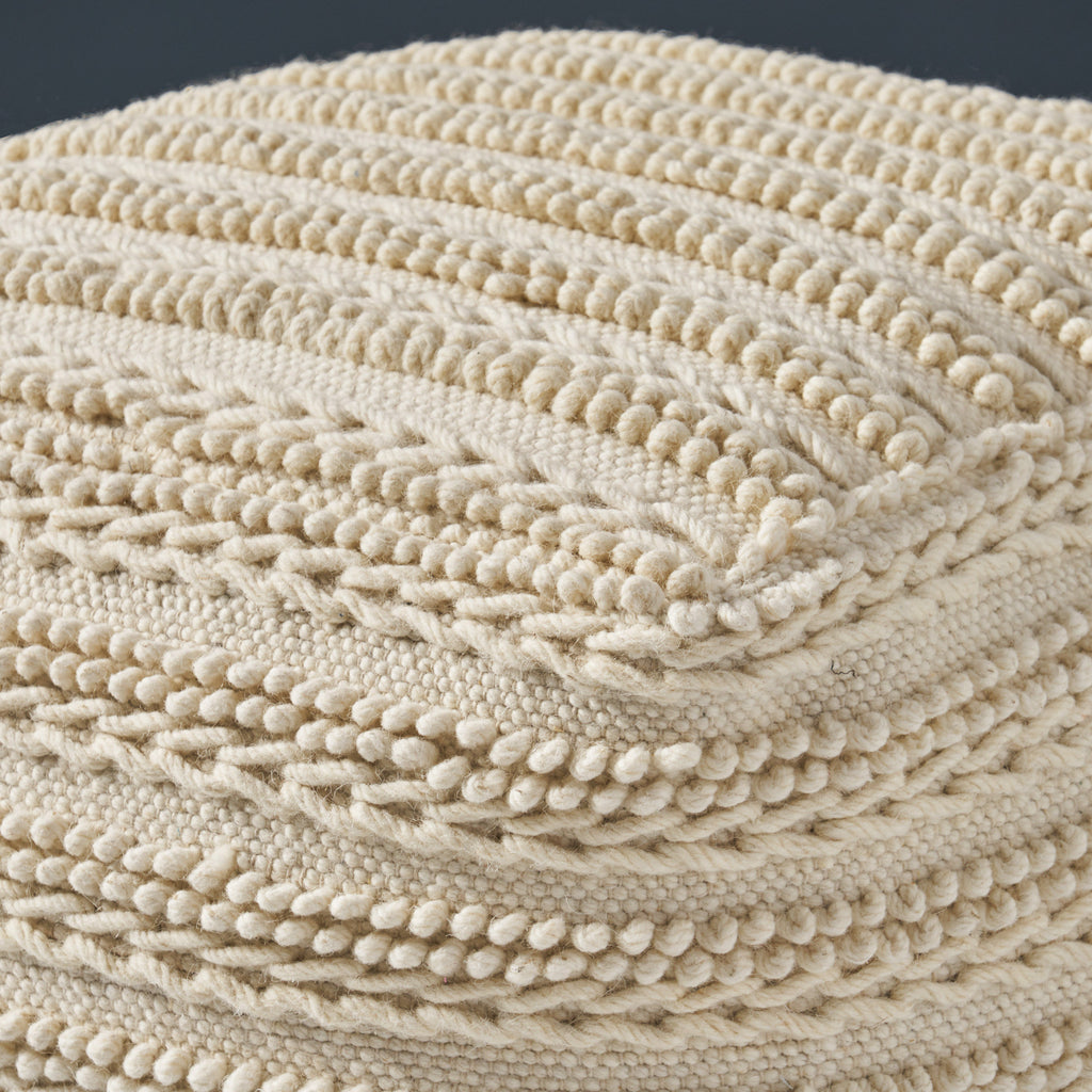 Marcia Large Square Casual Pouf, Modern, Contemporary, Ecru Wool and Cotton