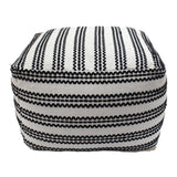 Lillian Large Square Casual Pouf, Contemporary, Black and Natural Cotton