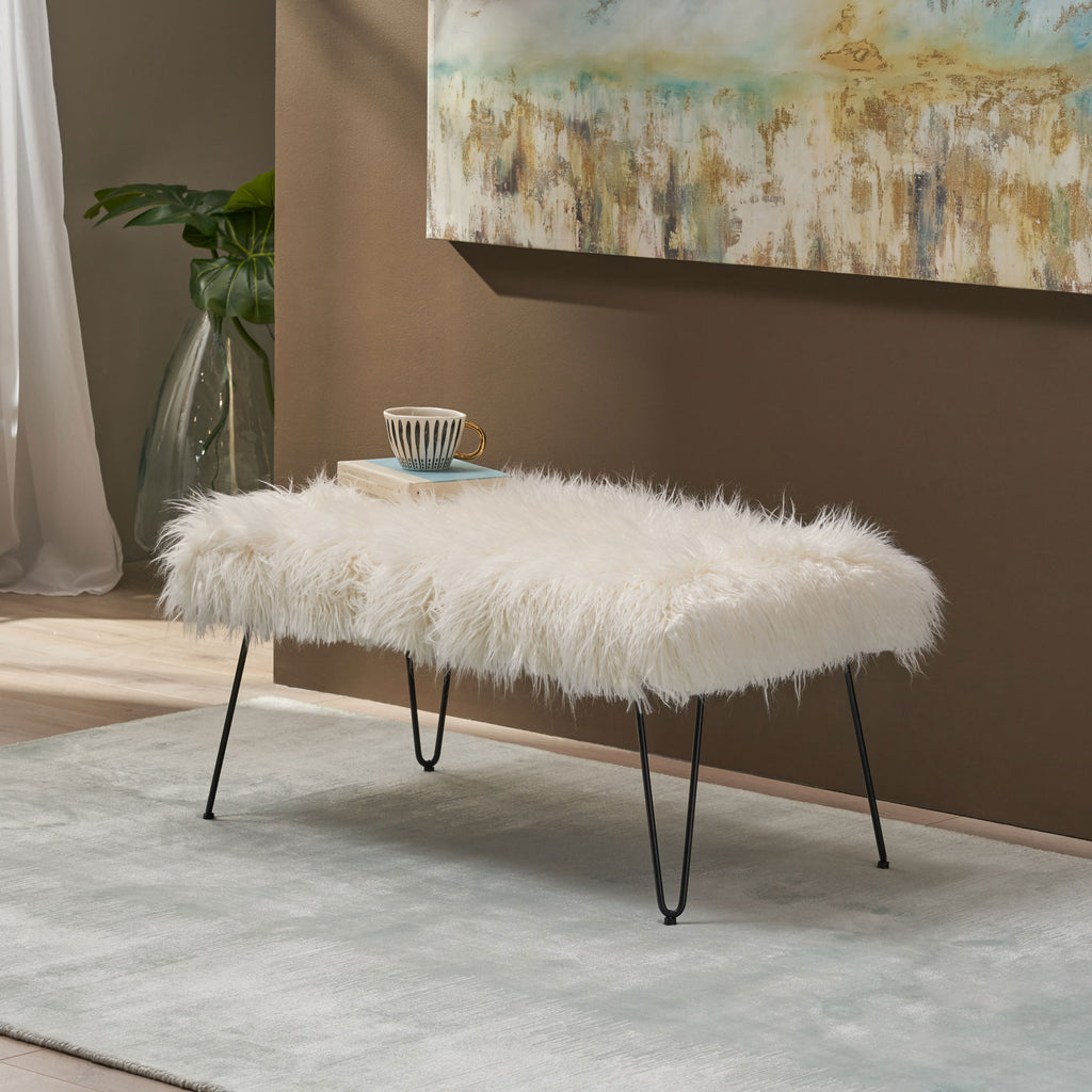 Louise Faux Fur Bench with Hairpin Legs