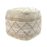 Janet Cube Pouf, Boho, Ivory Hemp and Cotton Chindi
