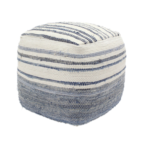 Alma Cube Pouf, Boho, Blue and White Recycled Denim and Cotton Chindi
