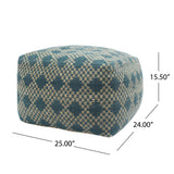 Georgia Outdoor Large Square Casual Pouf, Boho, Beige and Teal Yarn