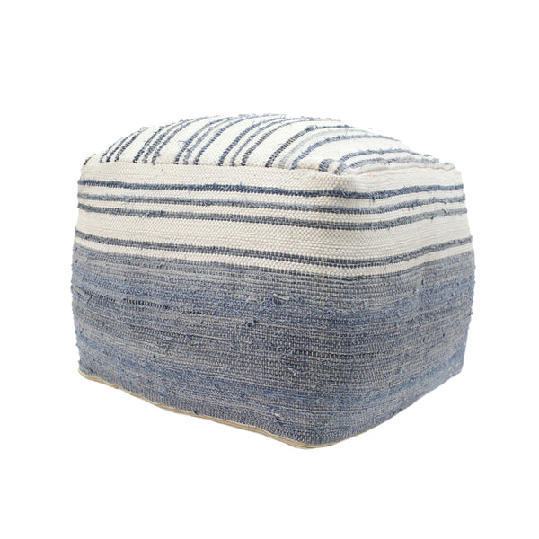 Althea Large Square Casual Pouf, Boho, Blue and White Recycled Denim and Chindi