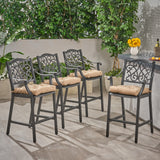 Prescott Outdoor Barstool with Cushion (Set of 4)