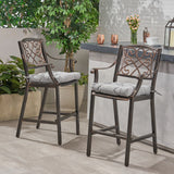 Sherry Outdoor Barstool with Cushion (Set of 2)