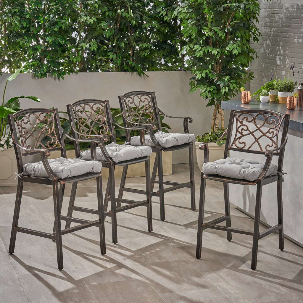 Peachy Sibyl Outdoor Barstool With Cushion Set Of 4 Short Links Chair Design For Home Short Linksinfo