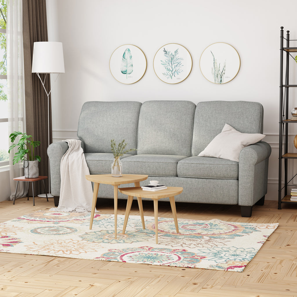 Bridget Contemporary Scrolled Arm Upholstered Fabric Sofa With Tonal Piping