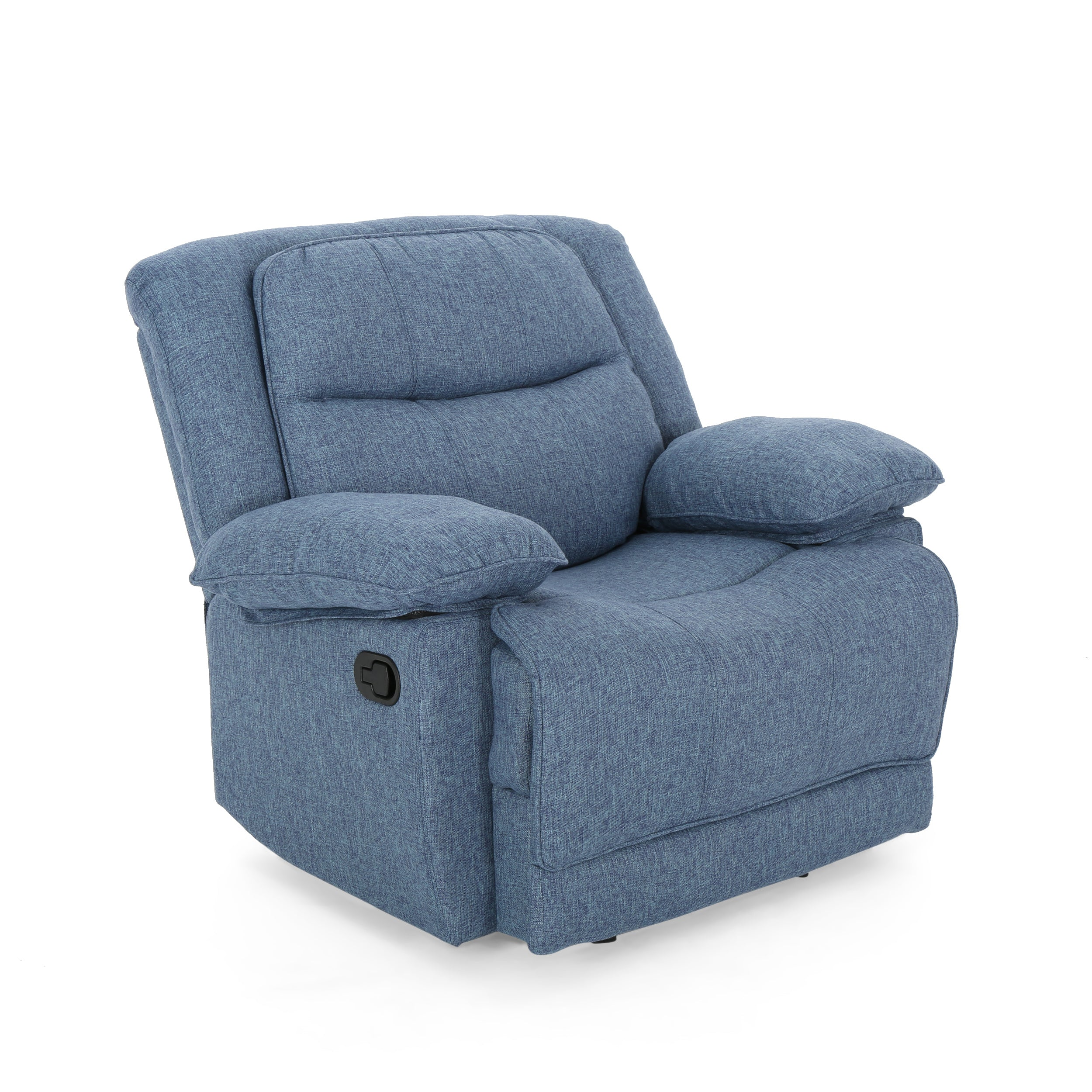 Antoinette Contemporary Pillow Tufted Upholstered Fabric Glider Recliner Navy Bue