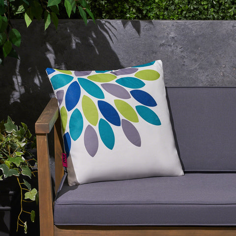 "Grace Outdoor Cushion, 17.75"" Square, Abstract Geometric Leaf Pattern, Cream, Blue, Turquoise, Green, Gray"
