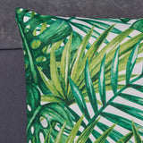 "Nina Outdoor Cushion, 17.75"" Square, Tropical Palm Fronds, Cream and Green"