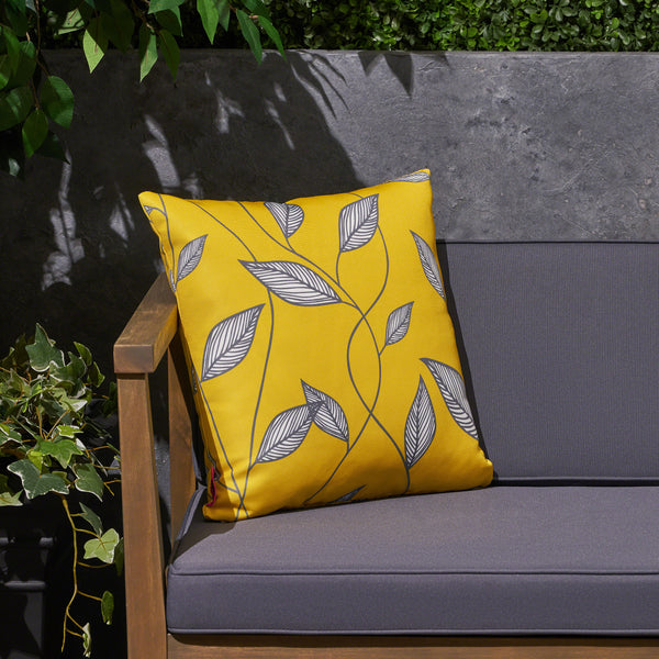 "Kama Outdoor Cushion, 17.75"" Square, Cute Leaves, Yellow, Cream, Gray"