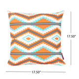 "Mag Boho Outdoor Cushion, 17.75"" Square, Southwestern/Tribal, Orange, Cream, Light Blue, Black"