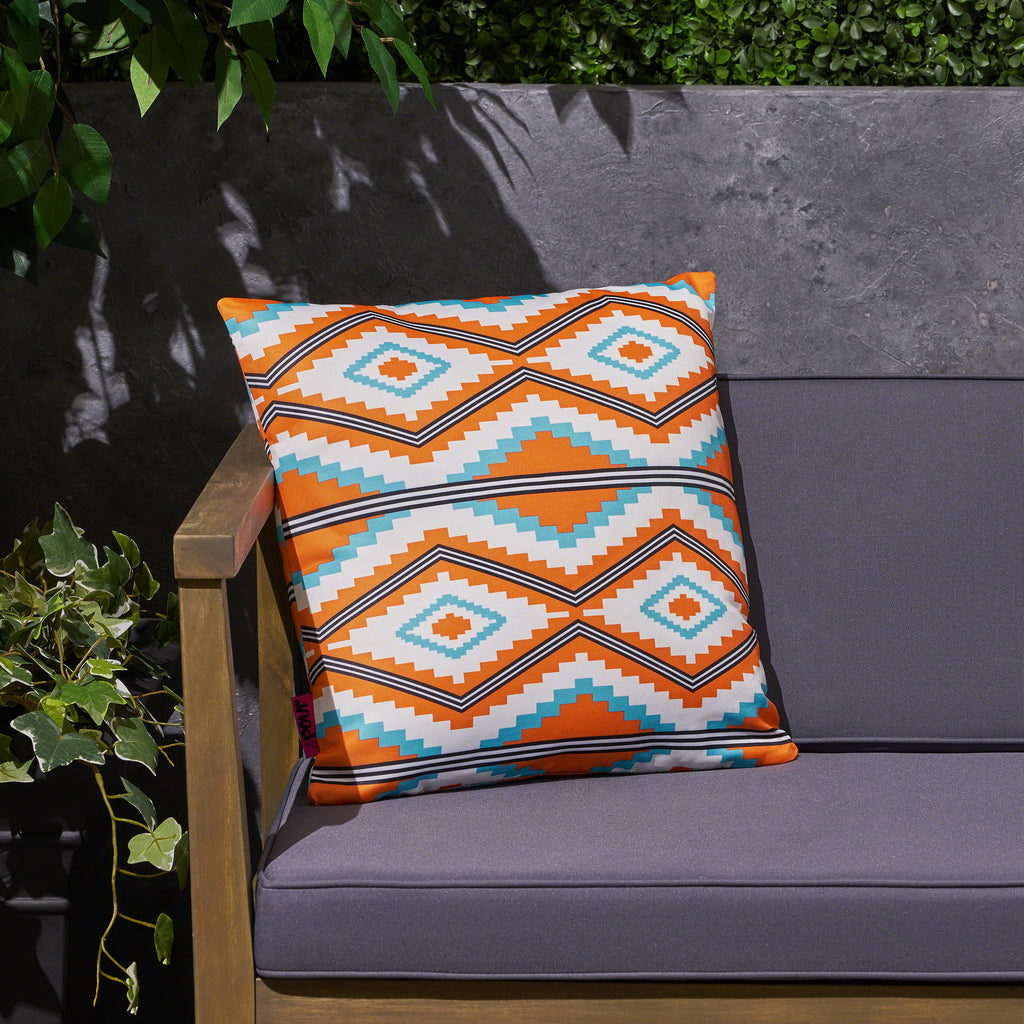 Mag Boho Outdoor Cushion 17 75 Square Southwestern Tribal Orange
