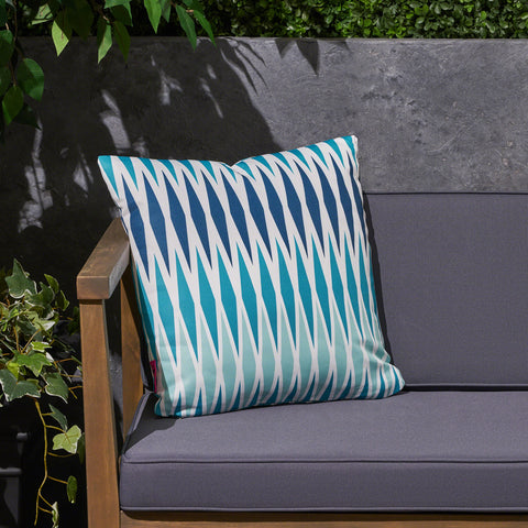 "Xanthe Outdoor Cushion, 17.75"" Square, Geometric Pattern, Cream, Dark Teal, Turquoise, Light Blue"