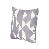 "Betty Outdoor Cushion, 17.75"" Square, Abstract Geometric Pattern, White, Gray"
