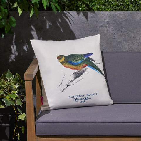 "Alma Outdoor Cushion, 17.75"" Square, Parrot Print, Vintage, White, Green, Blue, Red, Yellow, Gray"