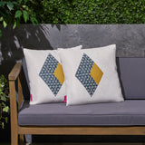"Janet Outdoor Cushion, 17.75"" Square, Abstract Geometric Pattern, Modern, Contemporary, White, Dark Blue, Yellow"