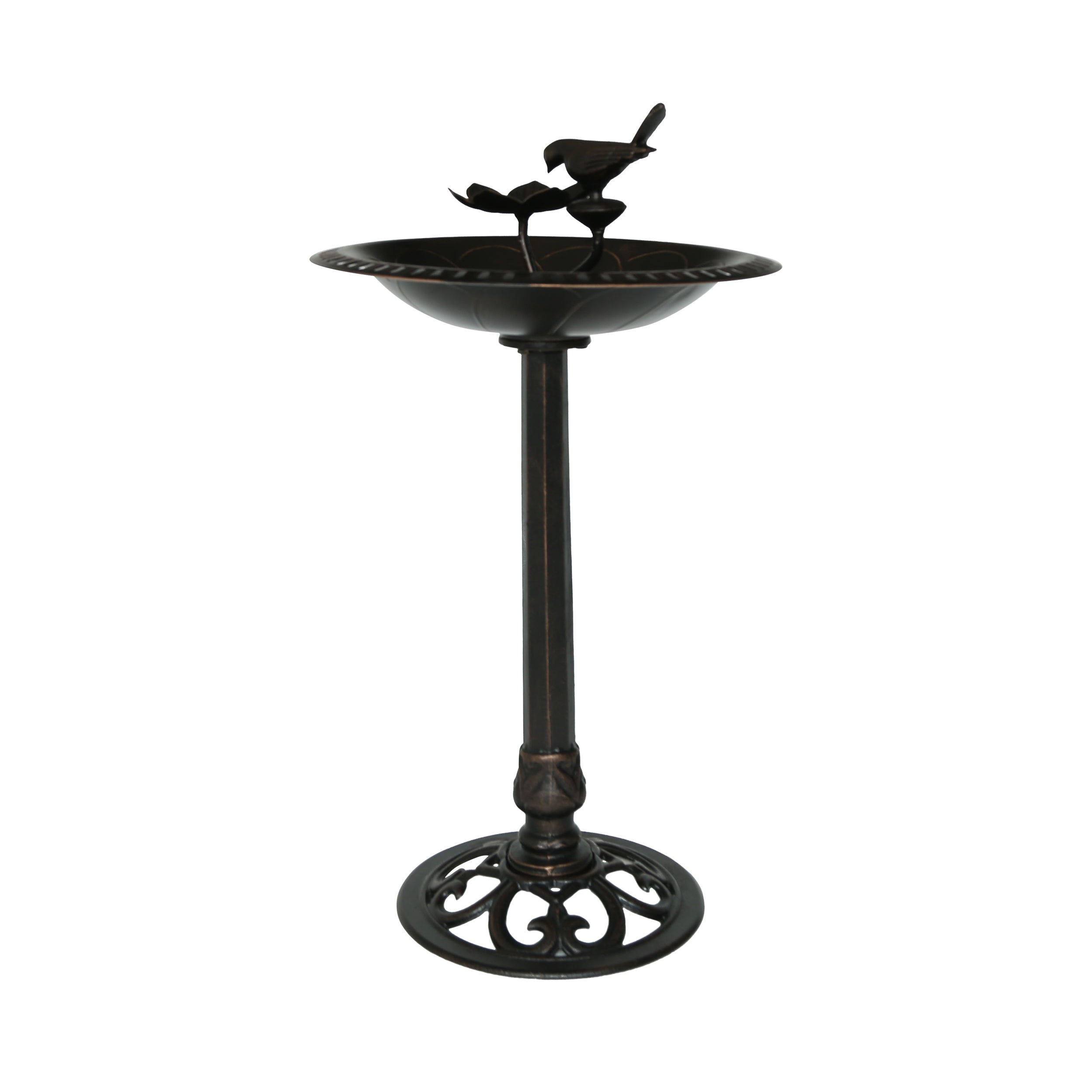Anso Outdoor Aluminum and Iron Bird Bath Shiny Copper Default Title