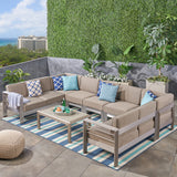 Emily Coral Outdoor 9-Seater Aluminum Sectional Sofa Set with Coffee Table, Silver and Khaki