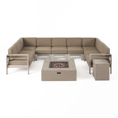 Denise Outdoor 9 Seater Aluminum U-Shaped Sofa Sectional and Fire Pit Set