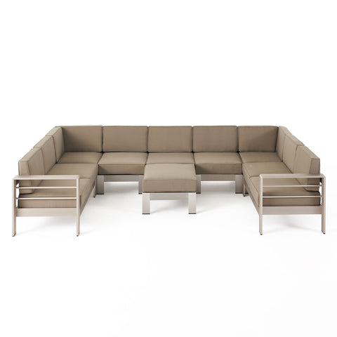 Laura Outdoor 9 Seater Aluminum U-Shaped Sofa Sectional and Ottoman Set