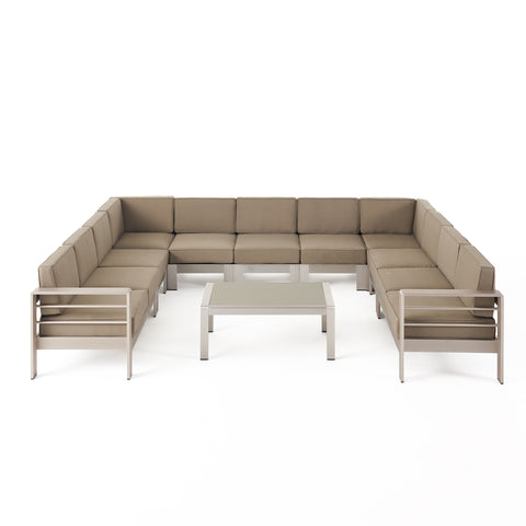 Enid Outdoor 11 Seater Aluminum U-Shaped Sofa Sectional and Table Set