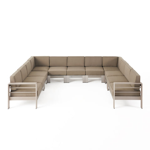 Melissa Outdoor 11 Seater Aluminum U-Shaped Sofa Sectional