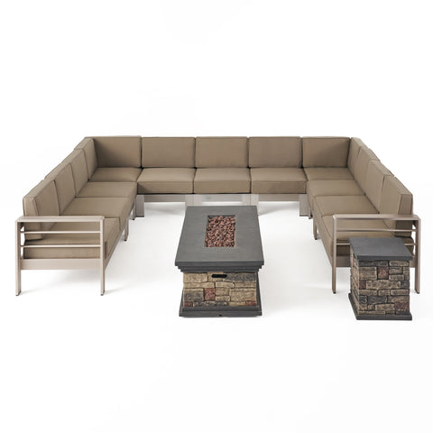 Pag Outdoor 11 Seater Aluminum U-Shaped Sofa Sectional and Fire Pit Set
