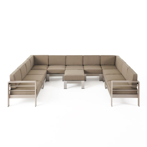 Freda Outdoor 11 Seater Aluminum U-Shaped Sofa Sectional and Ottoman Set